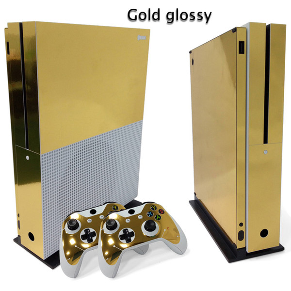 Golden glossy Full Set Skin Sticker Protective Vinyl Decals For Microsoft xbox one S Console and 2 Controllers Cover Skin Stickers