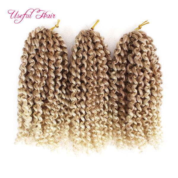 "best selling Malibob synthetic hair extension ombre Braids hair 8"" 3Pcs set 90g 1B 27crochet braids Twist for black women Kinky Curly marlybob Hair"