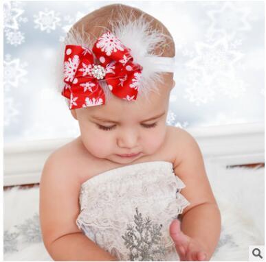 Navidad rojo arco de plumas diademas bebé recién nacido diadema niños niños diamante accesorios para el cabello accesorios de fotografía regalo de la fiesta