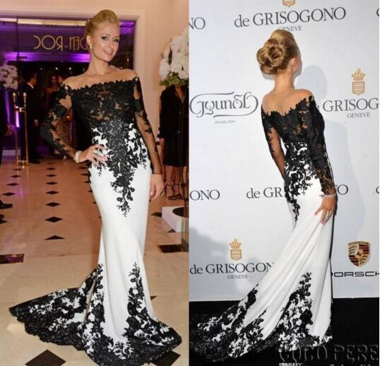 best selling Byparis Hilton De Grisogono Fatale Long Sleeve Evening Dresses in Cannes France May Off Shoulder Black White Celebrity Red Carpet Dresses