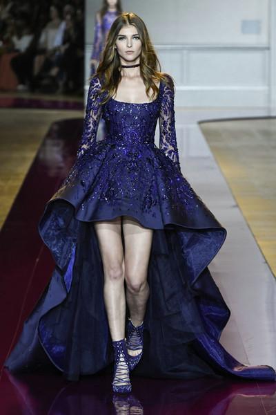 2017 nuovi vestiti da sera blu reale colletto quadrato collo manica lunga pizzo applique perline Ciao abito lungo formale basso 2016