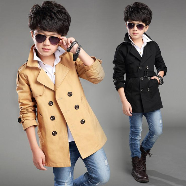 top popular fashion boy jacket coat European style solid trench jacket coat for 4-14yrs boys gift kids children windproof clothes hot sale 2019