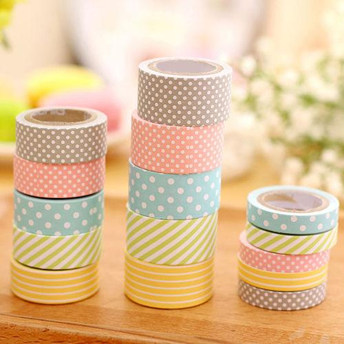 best selling 5 Rolls set Colorful Washi Tape Decorative Sticky Paper Masking Tape Adhesive Sturdy 2016 high quality