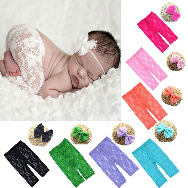 Newborn Summer pants Infant Lace Pants with matched Floral Headband Baby solid color Shower Gift Photography props set 9colors
