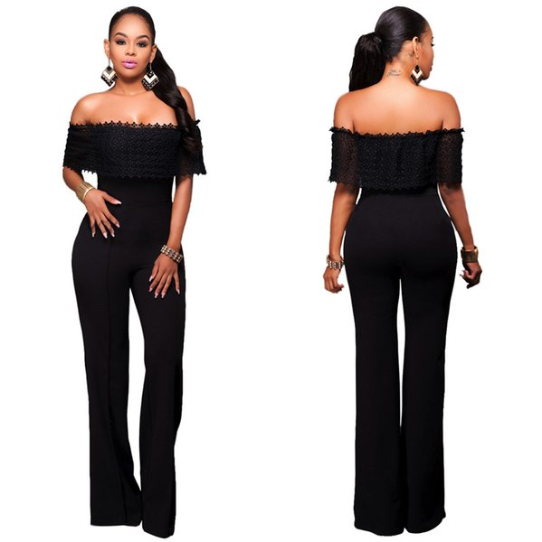Fashion Black Lace Cotton Office Work Lady Clothing 2017 Sexy Boat Neck Short Long Women Jumpsuits & Rompers Elegant Long Pant Sets