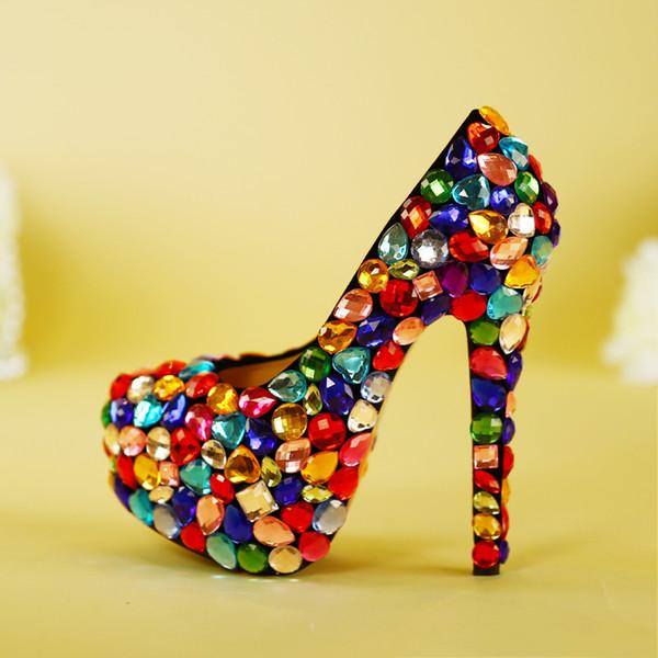95eebbe5f752 US4-11 Pumps Ladies Women s Crystal Wedding High Heel Rainbow Multi Color  Party Platform Shoes