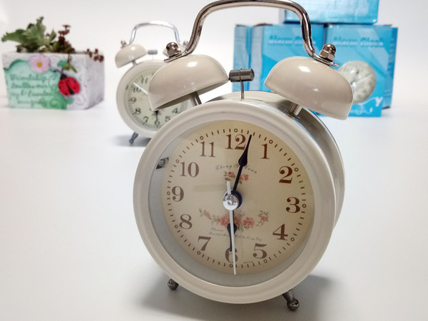 Classical metal bell ring alarm clock series of flower patterns led night light