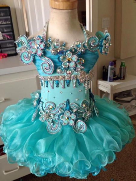 Halter light blue beaded ruffle short sleeve organza ball gown cupcake toddler little girls pageant dresses flower girl for weddings glitz