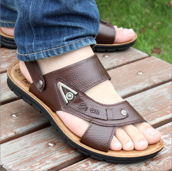 Wholesale-Large size 2016 Brand Men's Sandals Slippers PU Leather Cowhide Sandals Outdoor Summer Men Quality Leather Sandals For Man Male