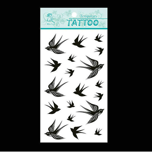 Al por mayor-Negro The Swallow Bird Flash Tattoo extraíble a prueba de agua pegatinas temporales del tatuaje Temporal Body Art Painting