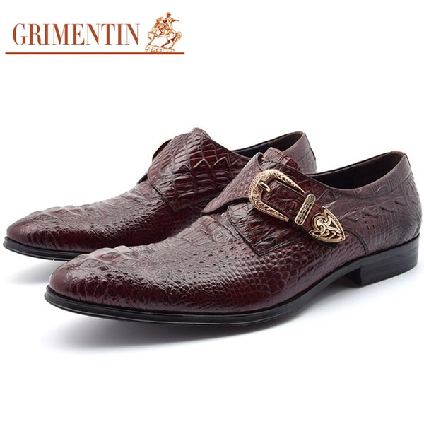 GRIMENTIN Mens dress shoes fashion Italian designer men oxford shoes genuine leather crocodile grain brand formal business office male shoes