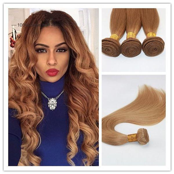 El pelo rubio de la fresa del color 27 teje las extensiones rectos brasileñas del pelo humano los paquetes del pelo de Remy 100G / pieza