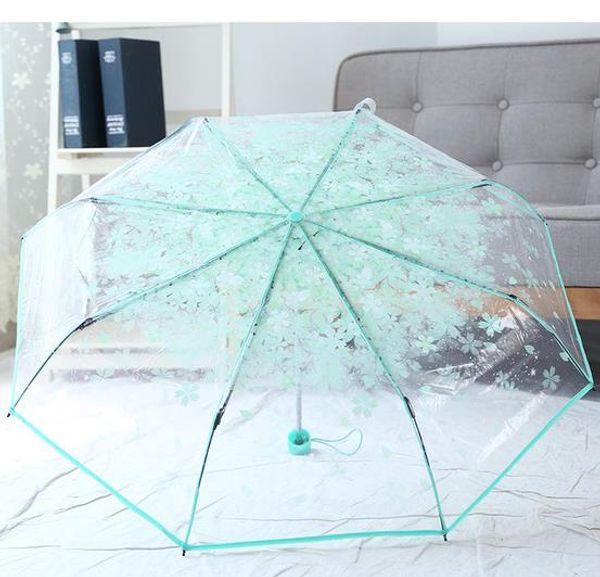 Creative fleurs de cerisier transparents twists and turn parapluie pliant parapluie cerisier ombre parapluie art joli parapluie