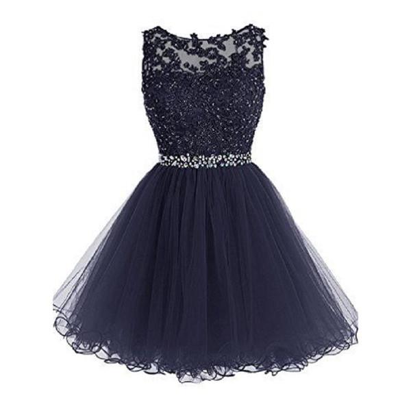 Marineblau Cocktailkleider 2017 Modest Short Appliqued Perlen Mädchen Party Kleid Besondere Anlässe Homecoming Kleider