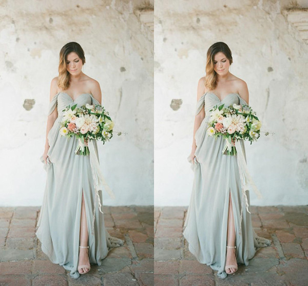 Side Split Plus Size Bridesmaid Dresses 2017 New Sexy Long For Wedding Guest Dress Sage Chiffon Off Shoulder Party Maid of Honor Gowns