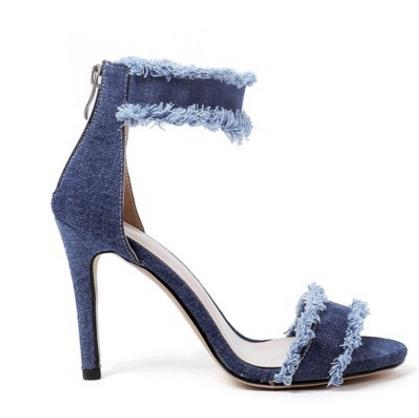 Arden Furtado 2017 летняя обувь для женщин джинсовые джинсы сандалии лодыжки-wrap высокие каблуки крышка пятки открытым носком женщины назад молния Стилет