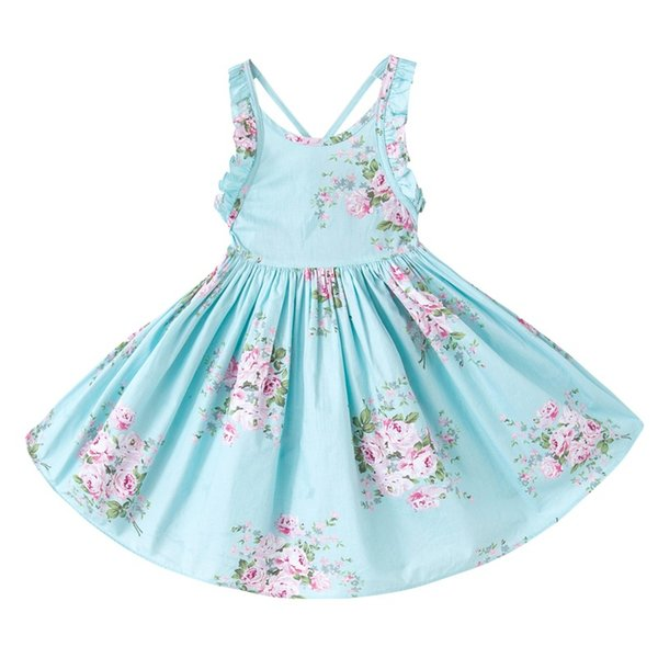 2017 INS baby girl toddler Kids Adults Summer clothes Pink Blue Rose Floral Dress Jumper Jumpsuits Halter Neck Ruffle Lace Sexy Back Wide