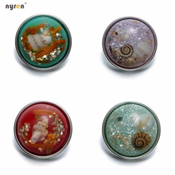 KZ0380HM Wholesale 20pcs/lot Mixed Colors Shell seaside Series 18mm/20mm Glass Snap Button Jewelry Fit Snap Bracelet Jewelry