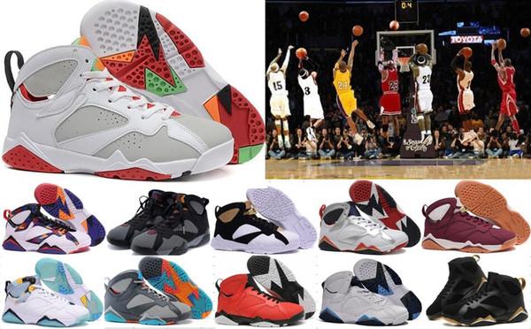 Venta caliente de calidad superior burdeos Hare francés azul 7 s zapatos de baloncesto mujeres hombres 7 zapatillas de deporte zapatos deportivos mujer entrega gratuita 27 35-46