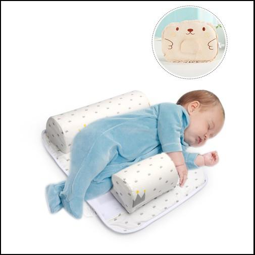 best selling 2017 New Baby Infant Newborn Sleep Positioner Anti Roll Pillow With Sheet Cover+Pillow 2pcs Sets