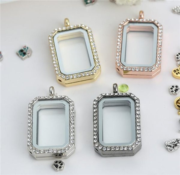 Floating rectangle Locket with diamonds of high quality transparent glass frames floating charm lockets pendants A064