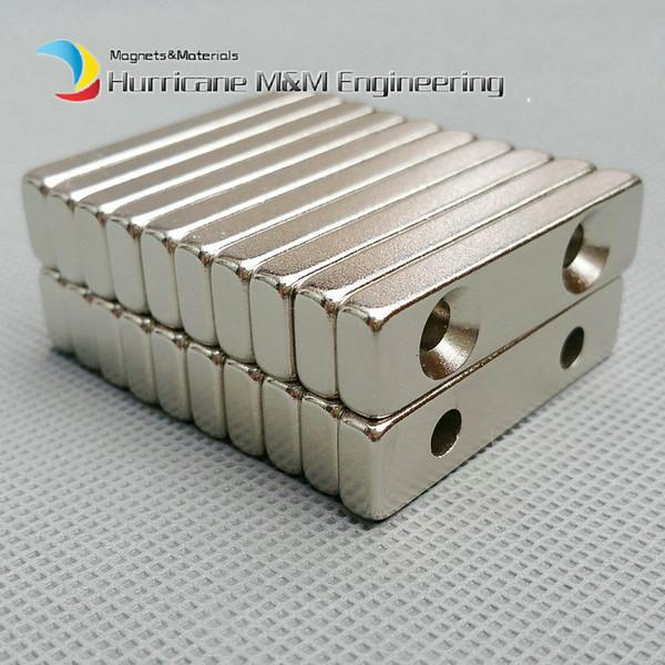 24pcs NdFeB Fix Magnet 40x10x5mm with 2 M5 Screw Countersunk Holes Block N42 Neodymium Rare Earth Permanent Magnet