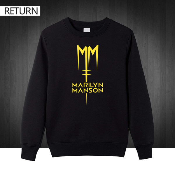 Wholesale- Classic Marilyn Manson Rock plus size printed Mens Sweat shirts Men 2016 Autumn winter Cotton Casual male pullover Hoodies