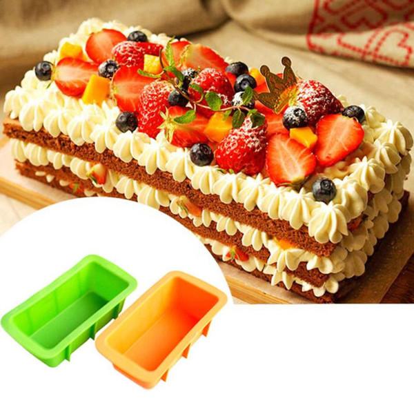 Großhandels-Kuchen, der Werkzeuge verziert Rosa-Silikon-Brot-Laib-Kuchen-Form bildet nicht Stock Backformen-Backform-Ofen-Rechteck-Form