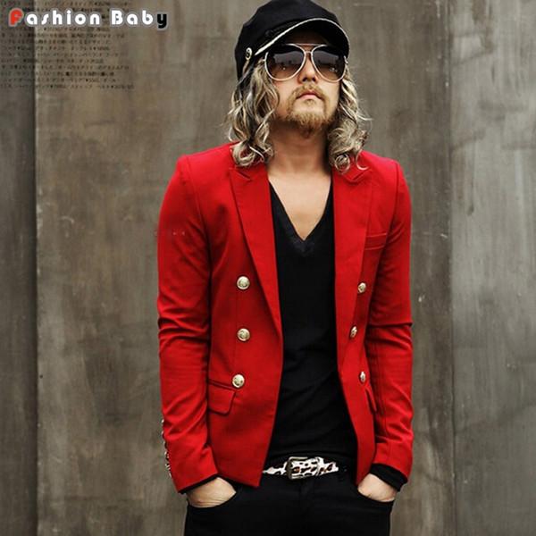 Britânico de Moda dos homens Botões de Ouro Slim-fit Blazer Vermelho Branco Preto Legal Curto Design T-stage Pista Jaqueta Terno boate palco personalit