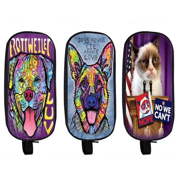 Venta al por mayor- Estuche para lápices de animales de impresión Bull Terrier / Rottweiler School Case Grumpy Cat / Bulldog Boy Girl Cartoon Dog Bag