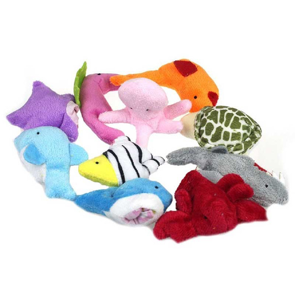 10pcs/ Set Cute Sea Animals Plush Hand Finger Puppets Toys Birthday Christmas Gifts for Children Kids @Z131