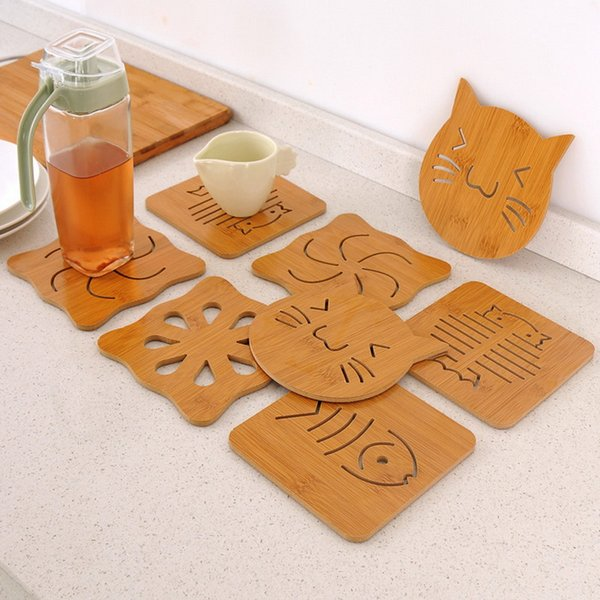 14.5cm Cartoon Hollow Wood Placemat Creative Cute Animal Insulated Table Mat Kitchen Carved Anti-hot Non-slip Pan Cushion DHL Shipping Free