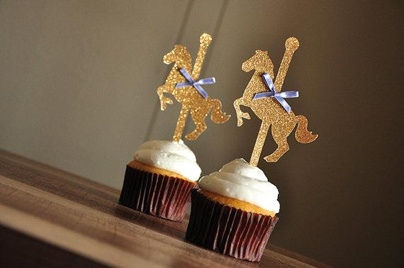 Wholesale- glitter riboon Carousel horse Gold Cupcake Toppers magic Party Decor. picks Birthday wedding bridal baby shower
