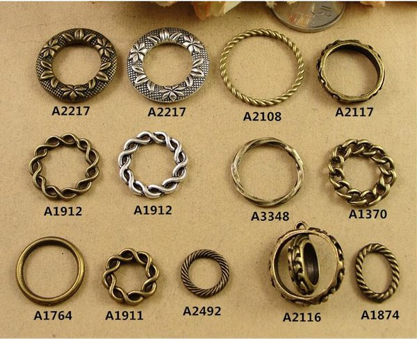 DIY jewelry accessories material retro antique Silver & bronze twisted Ring Bracelet Necklace pendants, round connector charms flower leaf