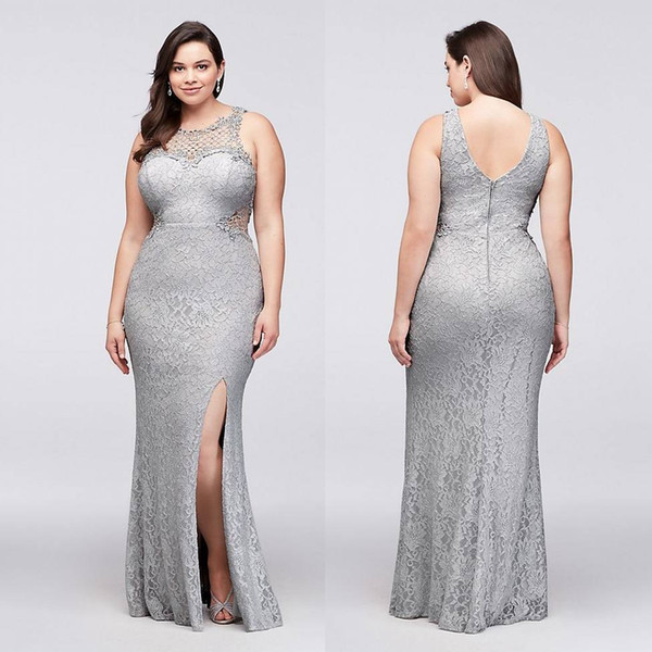 Silver Plus Size Lace Formal Dresses Sheer Jewel Neck Mermaid Split Side  Evening Gowns Cheap Floor Length Prom Dress Dresses Prom Evening Dresses  Plus ...
