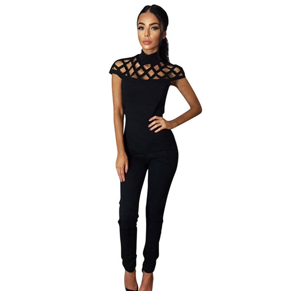 Wholesale- 2016 Womens Choker High Neck Caged Sleeve Playsuits Long Rompers Women Jumpsuits Summer women's bodysuits #25
