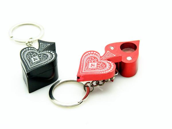new Poker Peach Heart Pattern Shape Smoking Pipe with Keychain Aluminum Alloy Metal Pipe Mini Tobacco Herb Smoke Pipes