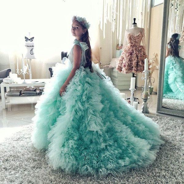 Mint Green 0-Neck Flower Girl Dresses 2017 Pageant Dresses for Girls Glitz Court Train Ruffles With Bow Kids Prom Dresses