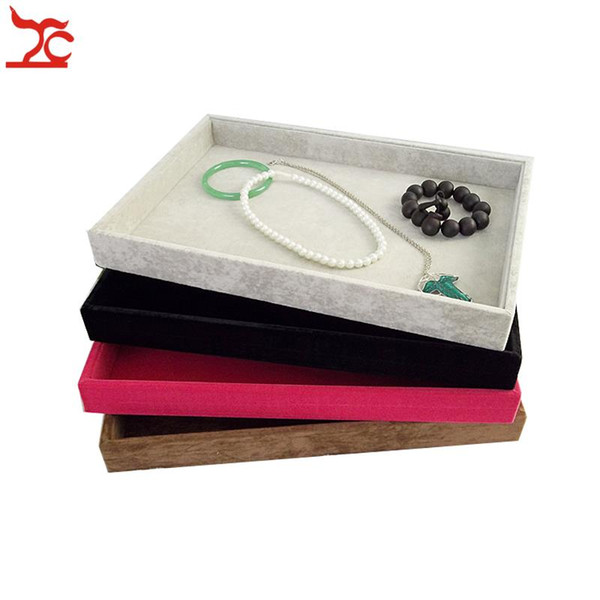 Retail High Quality Velvet Jewelry Display Cases Four Colors Necklace Bangle Bracelet Storage Organizer Flat Tray 35*24*3cm