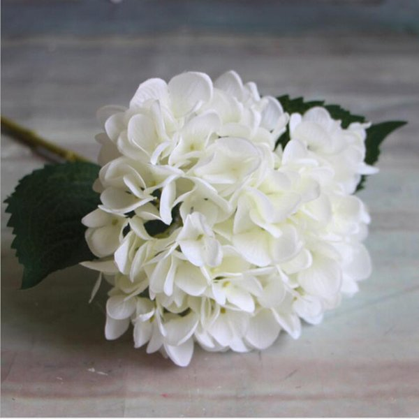 Artificial Hydrangea Flower Head 47cm Fake Silk Single Real Touch Hydrangeas 8 Colors for Wedding Centerpieces Home Party Decorative Flowers