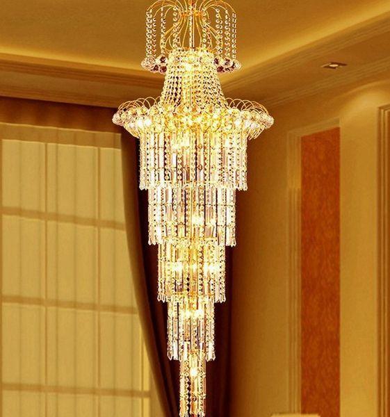 Stairs chandelier duplex floor lamp living room luxury crystal chandelier