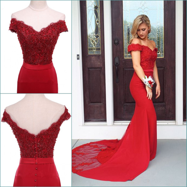 2018 Sexy Long Red Prom Dresses Mermaid Off The Shoulder Applique Lace Prom Party Gowns Cheap Sexy Sweep Veatido Train Formal Evening Dress