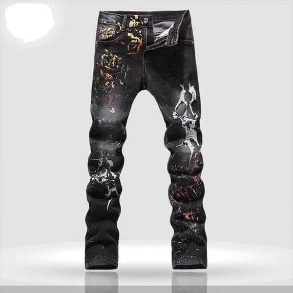 Top Quality Design Original dos homens Calças Jeans Impressão Punk Rock Pintado Impresso Jeans Mendigo Calça Jeans Motocicleta Fina