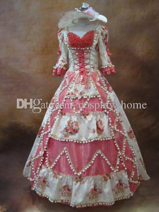 Customized 2016 Hot Sale Short Bow Pink Floral Print Beading Marie Antoinette Dresses For Women