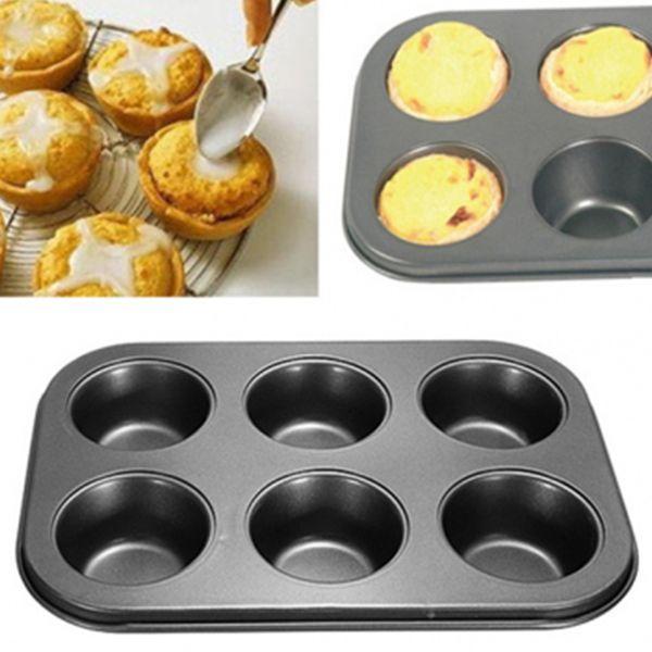 Venta al por mayor a estrenar 6 tazas de bricolaje herramientas de la hornada de acero antiadherente cupcake molde huevo tarta bandeja para hornear plato muffin molde de la torta de la galleta para hornear pan