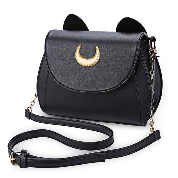 Wholesale-Hot Sale Black Sailor Moon Ladies Handbag PU Leather Women Messenger Crossbody Small Bag Women Luna Cat Shape Chain Shoulder Bag