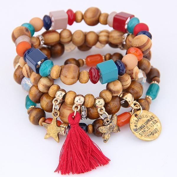 Bohemia Ethnic Fashion Jewelry Vintage Retro Wood Beads Tassel Stars Butterfly Accessories Statement Multilayer Bracelets Elasticity Bangles