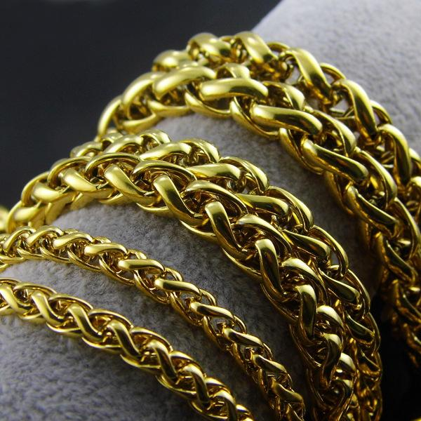 Beichong Gold Color Stainless Steel Necklace For Men Jewelry Wholesale 5MM Trendy Long Figaro Chain Necklace Trendy
