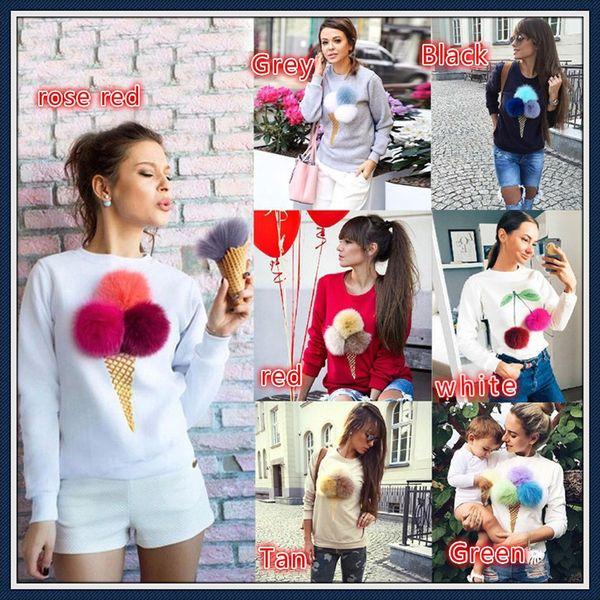 1 Pc Fashion Cute Furry Ball Ice Cream Cone Printed Round Neck Long Sleeve Fleece Jacket Dress