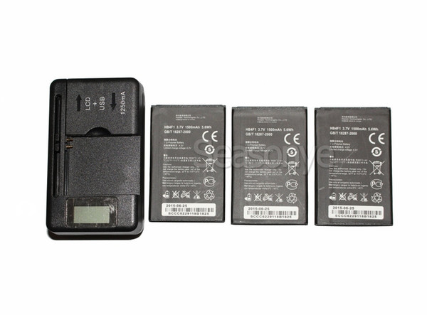 3x 1500mAh HB4F1 Replacement Battery + LCD Charger For Huawei T-Mobile Pulse E585 Ascend M860 IDEOS X5 T8808D G306T U8230 E5838 C8600 U8520
